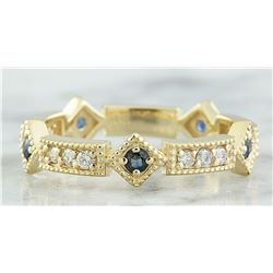 0.43 CTW Sapphire 18K Yellow Gold Diamond ring