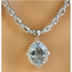 33.44 CTW Aquamarine 14k white Gold Diamond Necklace