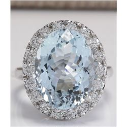 9.84 CTW Natural Aquamarine And Diamond Ring In 18K White Gold
