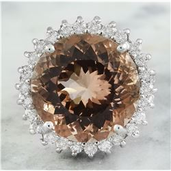 13.10 CTW Morganite 14K White Gold Diamond Ring