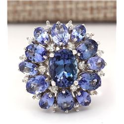 5.90 CTW Natural Tanzanite And Diamond Ring In 18K White Gold