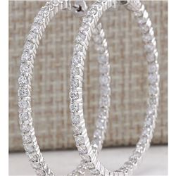 4.23 CTW Natural Diamond Hoop Earrings 18K Solid White Gold