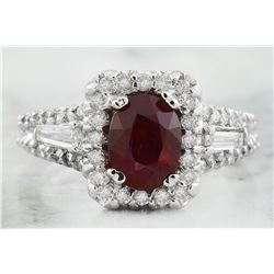 2.38 CTW Ruby 18K White Gold Diamond Ring