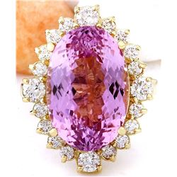 14.90 CTW Natural Kunzite 14K Solid Yellow Gold Diamond Ring