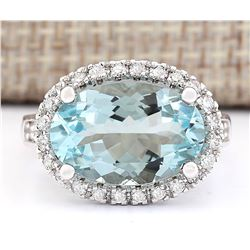 6.04 CTW Natural Aquamarine And Diamond Ring In 18K White Gold
