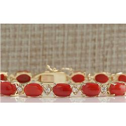 17.47 CTW Natural Red Coral And Diamond Bracelet In 14K Solid Yellow Gold