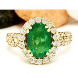 3.78 CTW Natural Emerald 14K Solid Yellow Gold Diamond Ring
