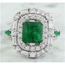5.75 CTW Emerald 14K White Gold Diamond Ring