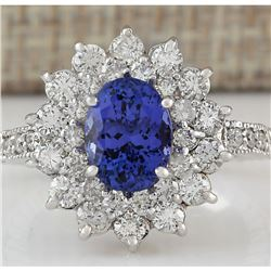 3.22 CTW Natural Tanzanite And Diamond Ring In 18K White Gold