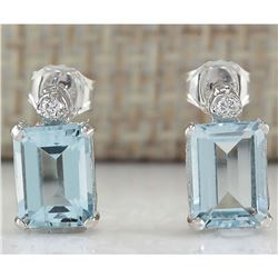 2.06 CTW Natural Aquamarine And Diamond Earrings 18K Solid White Gold