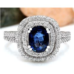 2.26 CTW Natural Sapphire 18K Solid White Gold Diamond Ring