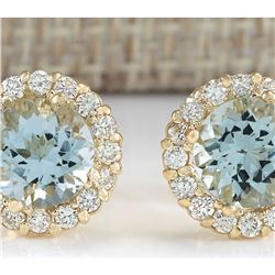 3.65 CTW Natural Aquamarine And Diamond Earrings 18K Solid Yellow Gold