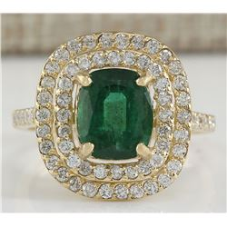 3.03 CTW Natural Emerald And Diamond Ring 14K Solid Yellow Gold