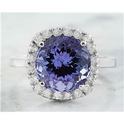 6.02 CTW Tanzanite 18K White Gold Diamond Ring