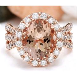 5.29 CTW Natural Morganite 18K Solid Rose Gold Diamond Ring