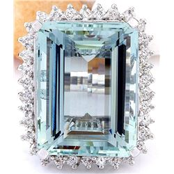 26.28 CTW Natural Aquamarine 18K Solid White Gold Diamond Ring