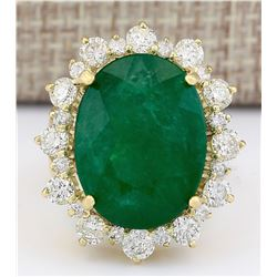 18.59 CTW Natural Emerald And Diamond Ring In 18K Yellow Gold
