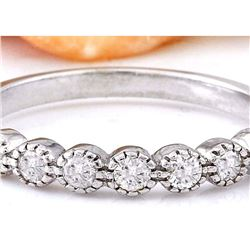0.60 CTW Natural Diamond 18K Solid White Gold Ring