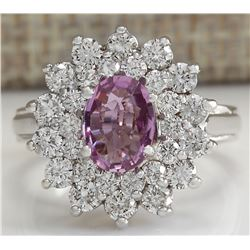 2.72 CTW Natural Pink Sapphire Diamond Ring 18K Solid White Gold