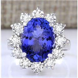 6.78 CTW Natural Blue Tanzanite And Diamond Ring 18K Solid White Gold