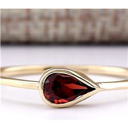 0.50 CTW Natural Rhodolite Garnet Ring In 14k Yellow Gold