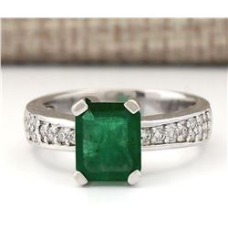 2.06 CTW Natural Emerald And Diamond Ring In 14k White Gold