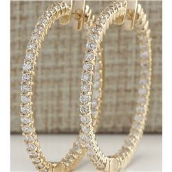 4.50 CTW Natural Diamond Hoop Earrings 14K Solid Yellow Gold