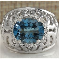 3.95 CTW Natural London Blue Topaz And Diamond Ring In 18K White Gold