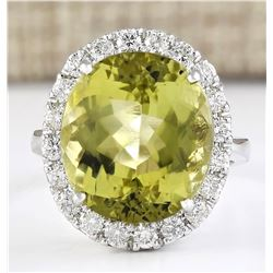 12.16 CTW Natural Yellow Beryl And Diamond Ring 18K Solid White Gold