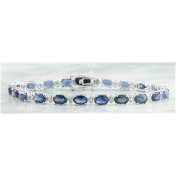 12.15 CTW Sapphire 14K White Gold Diamond Bracelet