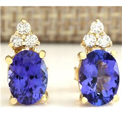 3.00 CTW Natural Blue Tanzanite And Diamond Earrings 18K Solid Yellow Gold