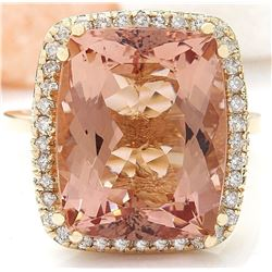 11.04 CTW Natural Morganite 18K Solid Yellow Gold Diamond Ring
