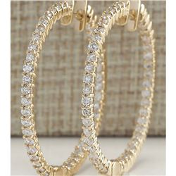 4.50 CTW Natural Diamond Hoop Earrings 18K Solid Yellow Gold