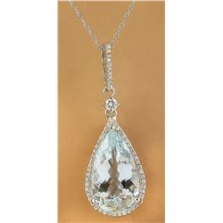 6.57 CTW Aquamarine 14K White Gold Diamond Necklace