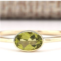 0.60 CTW Natural Peridot Ring In 14k Yellow Gold