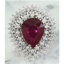 10.30 CTW Rubelite 18K White Gold Diamond Ring
