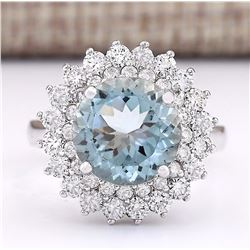 4.25 CTW Natural Aquamarine And Diamond Ring In 14k White Gold