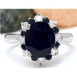 5.65 CTW Natural Sapphire 18K Solid White Gold Diamond Ring