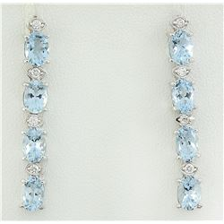 3.73 CTW Aquamarine 14K White Gold Diamond Earrings