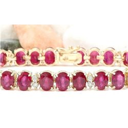 33.50 CTW Natural Ruby 14K Solid Yellow Gold Diamond Bracelet