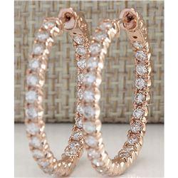 2.20 CTW Natural Diamond Hoop Earrings 18K Solid Rose Gold