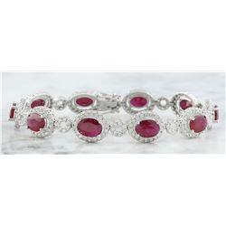14.50 CTW Ruby 18K White Gold Diamond Bracelet