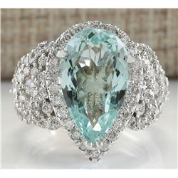 7.30 CTW Natural Aquamarine And Diamond Ring In 14K Solid White Gold
