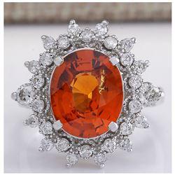 5.90CTW Natural Mandarin Garnet And Diamond Ring In14K White Gold