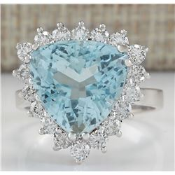 7.12 CTW Natural Aquamarine And Diamond Ring In 18K White Gold