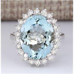 9.12 CTW Natural Aquamarine And Diamond Ring In 18K White Gold