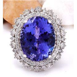 17.52 CTW Natural Tanzanite 18K Solid White Gold Diamond Ring