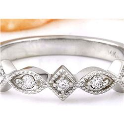 0.20 CTW Natural Diamond 18K Solid White Gold Ring