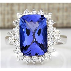 5.55 CTW Natural Blue Tanzanite And Diamond Ring In 18K White Gold
