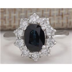 2.74 CTW Natural Blue Sapphire Diamond Ring 18K Solid White Gold